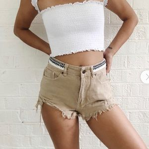 Erin Wasson Cream Fray Hem Destructed Mom Shorts